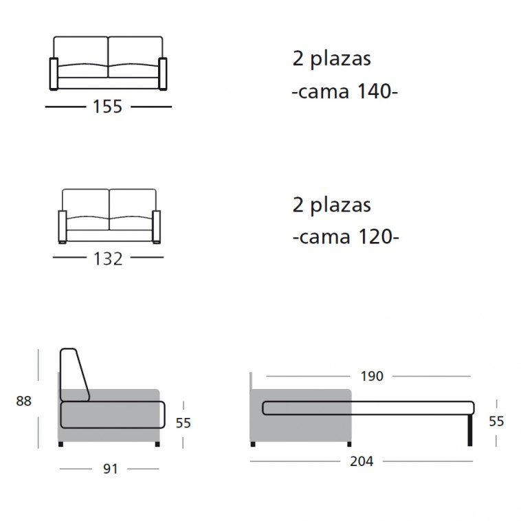 Serie a arte 100 poliester antimanchas serie b harrier for Sofa cama 120 cm ancho