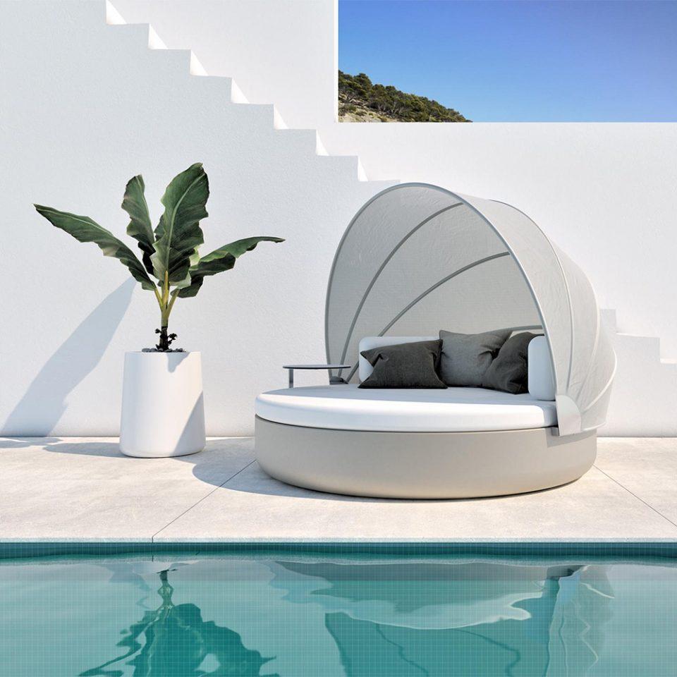 cama redonda de exterior