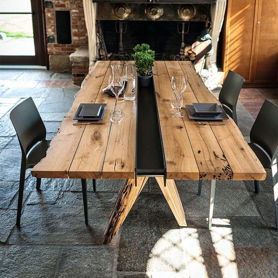 grandes mesas de madera diseño Italiano
