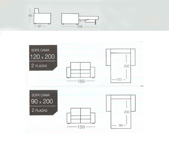 Dimensiones sofa cama dado de goher para su compra. Tienda sofas cama