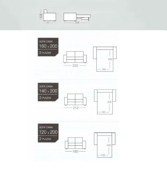 Medidas del sofa cama de goher para comprar online. tienda sofas camas
