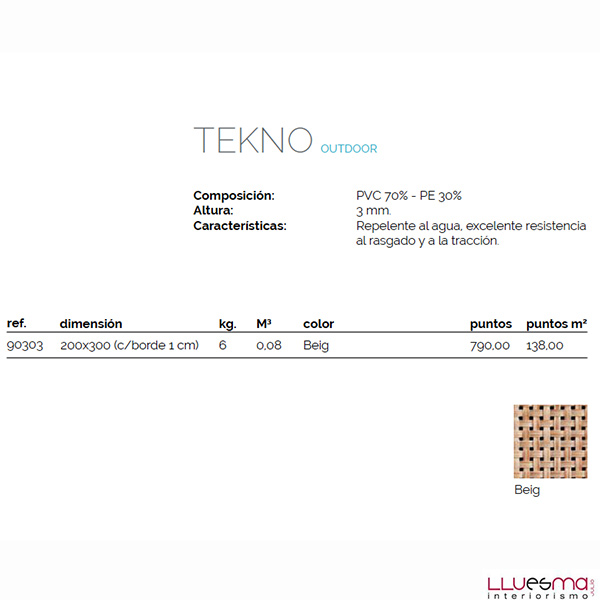Alfombra moqueta de exterior Tekno. Tienda online skyline