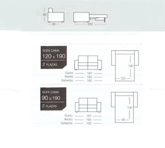 Dimensiones sofa cama de goher de nuestra tienda sofas cama.